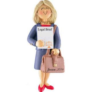 Lawyer: Female Blonde Personalized Christmas Ornament