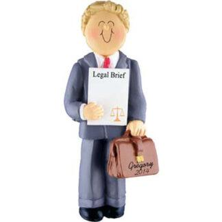 Lawyer: Male Blonde Personalized Christmas Ornament