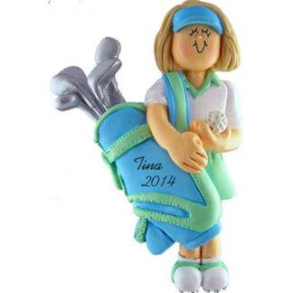 Golfer Female Blonde Hair Personalized Christmas Ornament