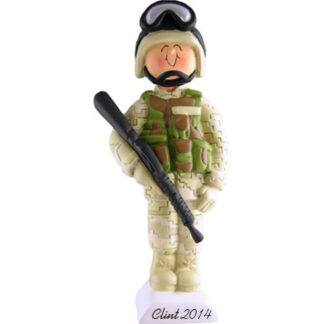 Armed Forces in Fatigues, Male Personalized Christmas Ornament