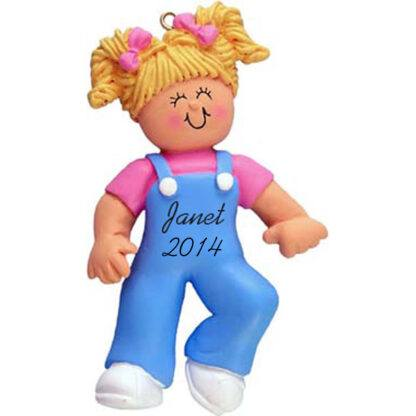 Baby Girl's First Steps Blonde Personalized Christmas Ornament