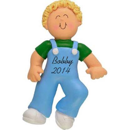 Baby Boy's First Steps Blonde Personalized Christmas Ornament