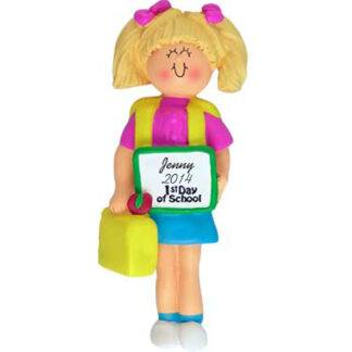 Girl's First Day of School Blonde Personalized Christmas Ornament