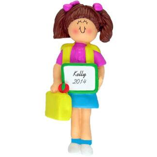 Girl's First Day of School Brunette Personalized Christmas Ornament