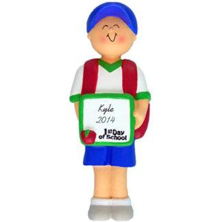 Boy's First Day of School Personalized Christmas Ornament