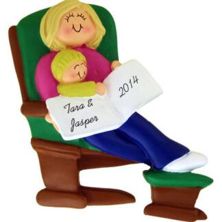Mommy or Grandma Blonde and Baby on Glider Personalized Christmas Ornament