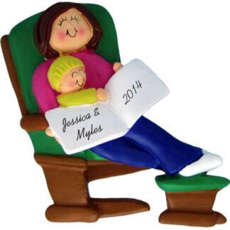 Mommy or Grandma Brunette and Baby on Glider Personalized Christmas Ornament