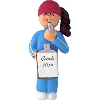 Coach: Female Brunette Personalized Christmas Ornament