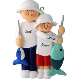 Fishing Friends: Male with Male Child Personalized Christmas Ornament