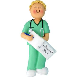 Nurse in Scrubs, Male Blonde Personalized Christmas Ornament