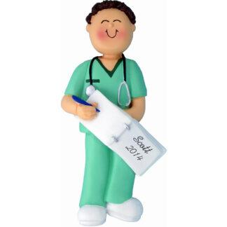 Nurse in Scrubs, Male Brunette Personalized Christmas Ornament
