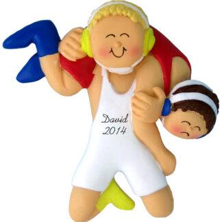 Wrestling, Male Blonde Personalized Christmas Ornament