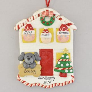 House for Family of Three with One Pet Personalized Christmas Ornament