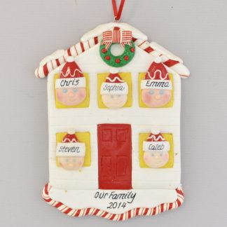 House for Family of Five Personalized Christmas Ornament