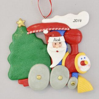 Santa Driving Little Engine Personalized Christmas Ornament