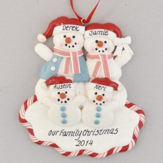 Snow Family of Four Red White and Blue Personalized Christmas Ornament