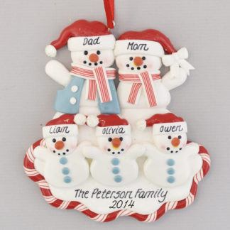 Snow Family of Five Red White and Blue Personalized Christmas Ornament