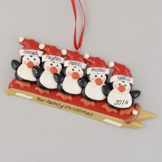 Five Penguins Sledding Personalized Christmas Ornament