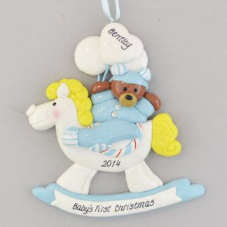 Baby Boy's First Christmas Rocking Horse Personalized Christmas Ornament