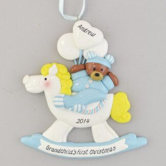 Grandson's First Christmas Rocking Horse Personalized Christmas Ornament