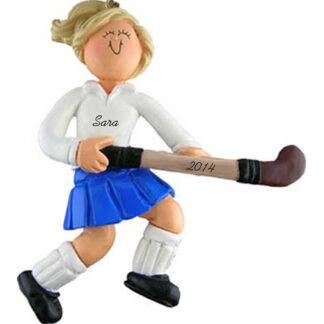 Field Hockey Player: Female Blonde Personalized Ornament
