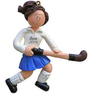 Field Hockey Player: Female Brunette Hair Personalized Christmas Ornament