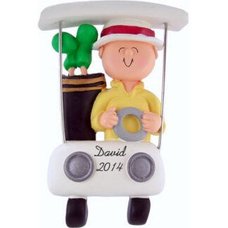 Golfer in Cart Personalized Christmas Ornament
