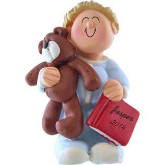 Boy with Teddy: Blonde Hair Personalized Christmas Ornament