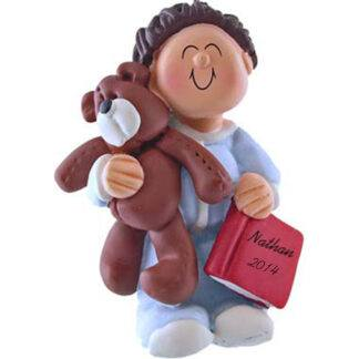 Boy with Teddy: Brown Hair Personalized Christmas Ornament