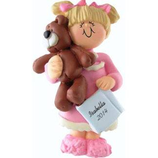 Girl with Teddy: Blonde Hair Personalized Christmas Ornament