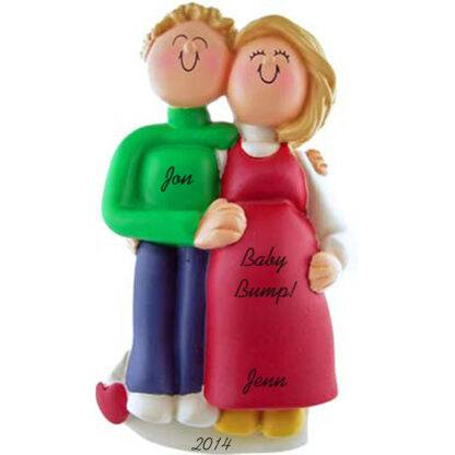 Pregnant Couple: Male blonde Hair, Female Blonde Hair Personalized Christmas Ornament
