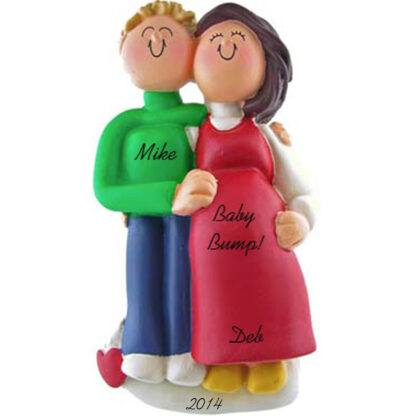 Pregnant Couple: Male Blonde Hair, Female Brunette Hair Personalized Christmas Ornament