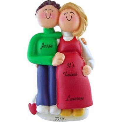Pregnant Couple: Male Brunette, Female Blonde Personalized Ornament