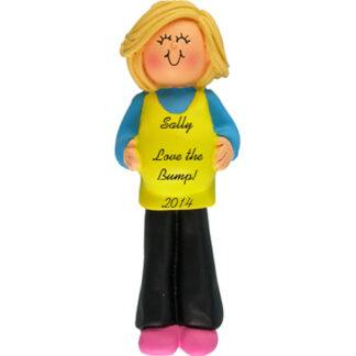 Pregnant Mom to Be: Blonde Personalized Christmas Ornament