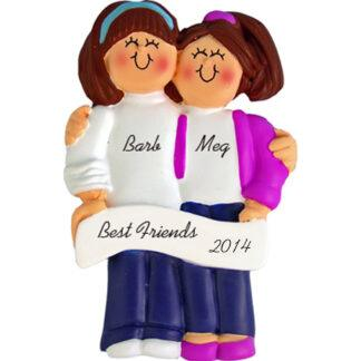 Friends: both Brunette Hair Personalized Christmas Ornaments