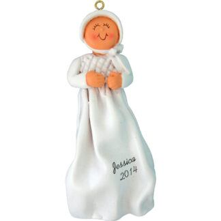 Baptism/Christening: Female Personalized christmas Ornament
