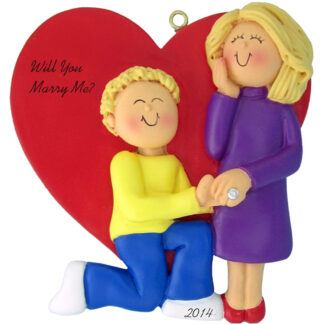 Marry Me: Male Blonde, Female Blonde Personalized christmas Ornament