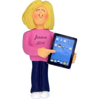 Touch Tablet: Female, Blonde Personalized christmas Ornament