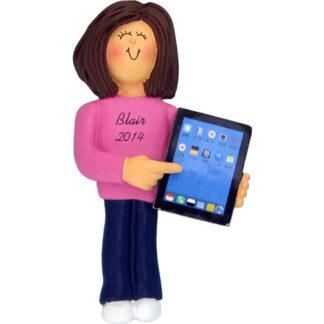 Touch Tablet: Female, Brown Personalized christmas Ornament