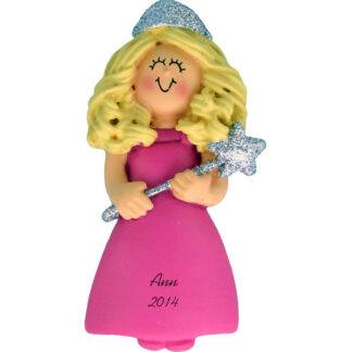 Princess with Glitter: Blonde Personalized christmas Ornament