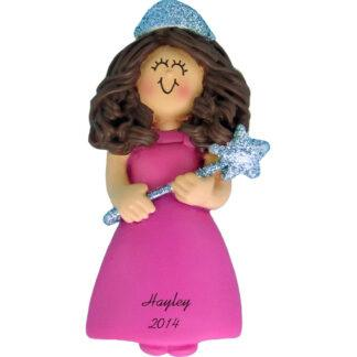 Princess with Glitter: Female Brunette Personalized christmas Ornament