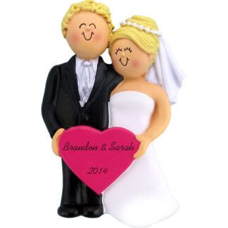Wedding: Male Blonde, Female Blonde Personalized christmas Ornament