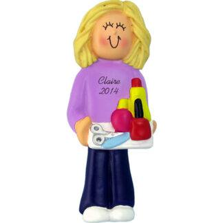 Manicurist: Female Blonde Personalized christmas Ornament