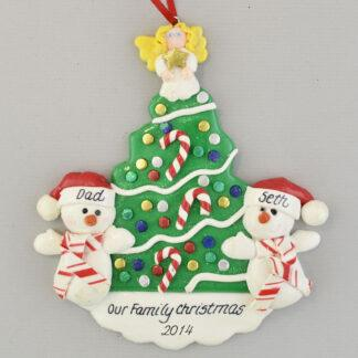 Single Parent and One Child Snowman personalized Christmas Ornament