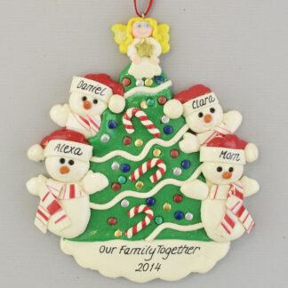 Single Parent with 3 Children Snowman around Tree personalized Christmas Ornaments