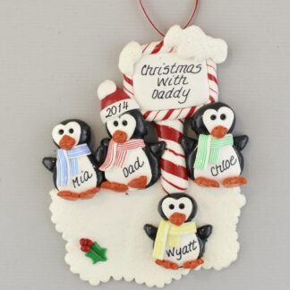 Single Penguin Daddy and 3 Children Personalized Christmas Ornaments