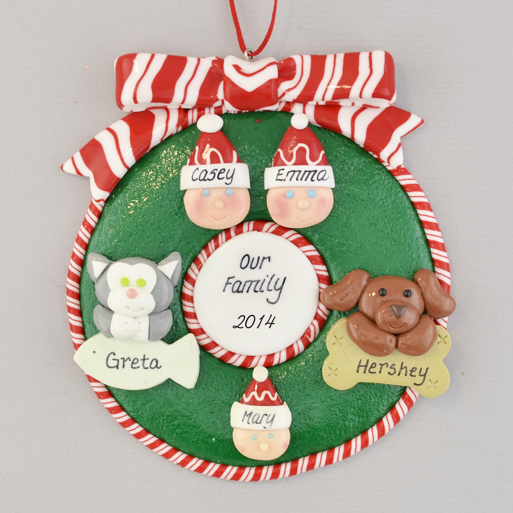 Wreath for Family of 3 with 2 Pets Personalized christmas Ornament