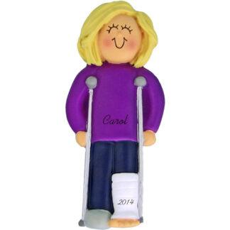 Crutches: Female Blonde Personalized Christmas Ornament