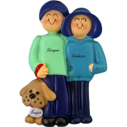 Family and Dog: Couple with Pet personalized christmas Ornaments