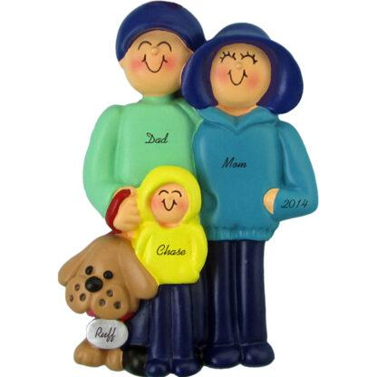 Family and Dog: 3 People Personalized Christmas Ornaments